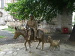 Donkey and goat statue in old town, Edessa