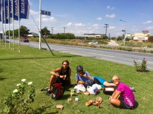 Lunch break on a nice grassy patch, next the busy road
