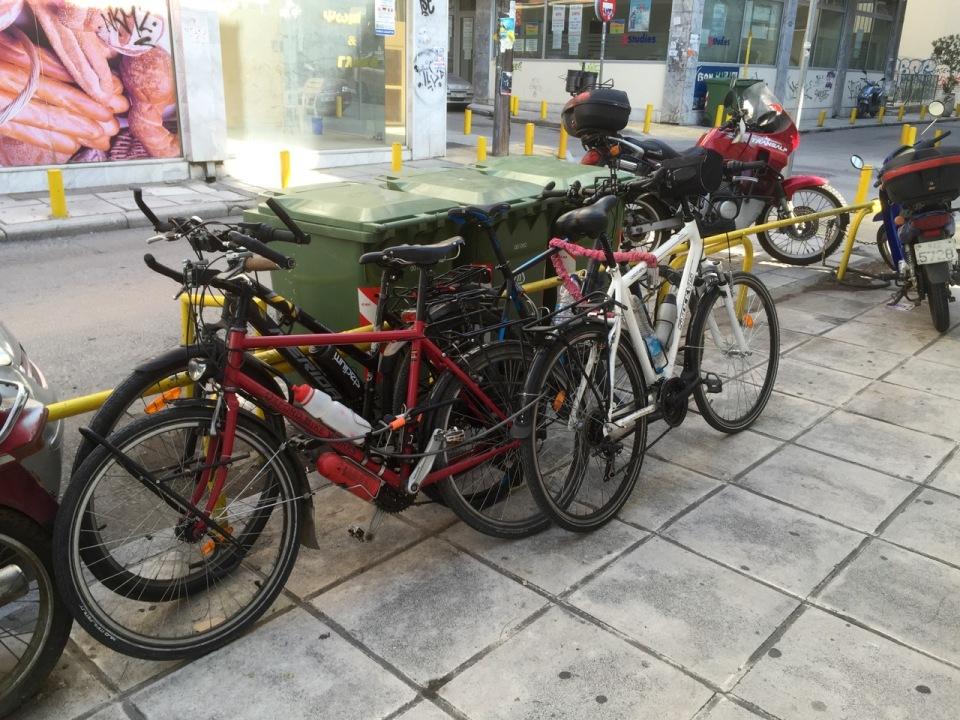 Bikes locked up in an ingenious bike lock puzzle type fashion