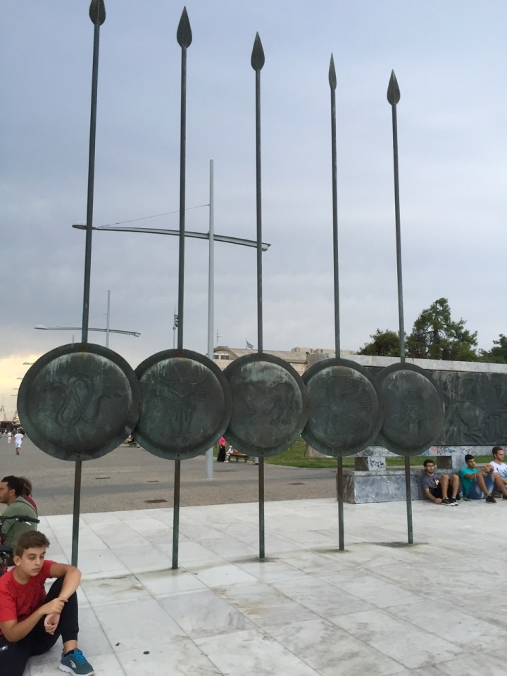 Spears and shields, Thessaloniki - long spears called Sarissa