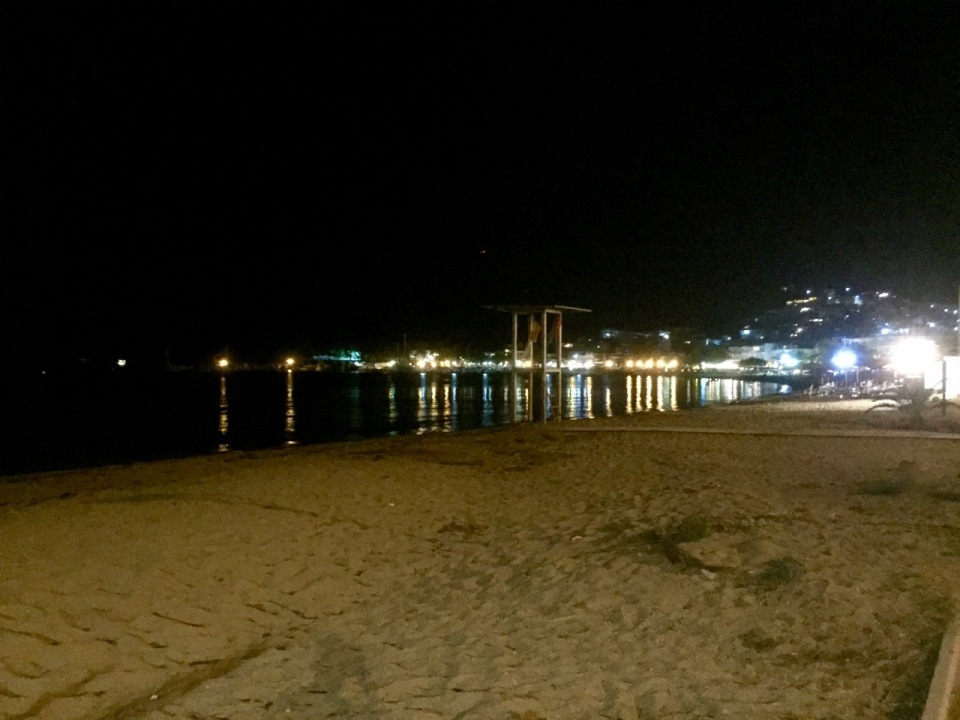 The lights of Eleftheres during stroll along the seafront