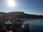 Kavala harbour, castle, and fishing boats