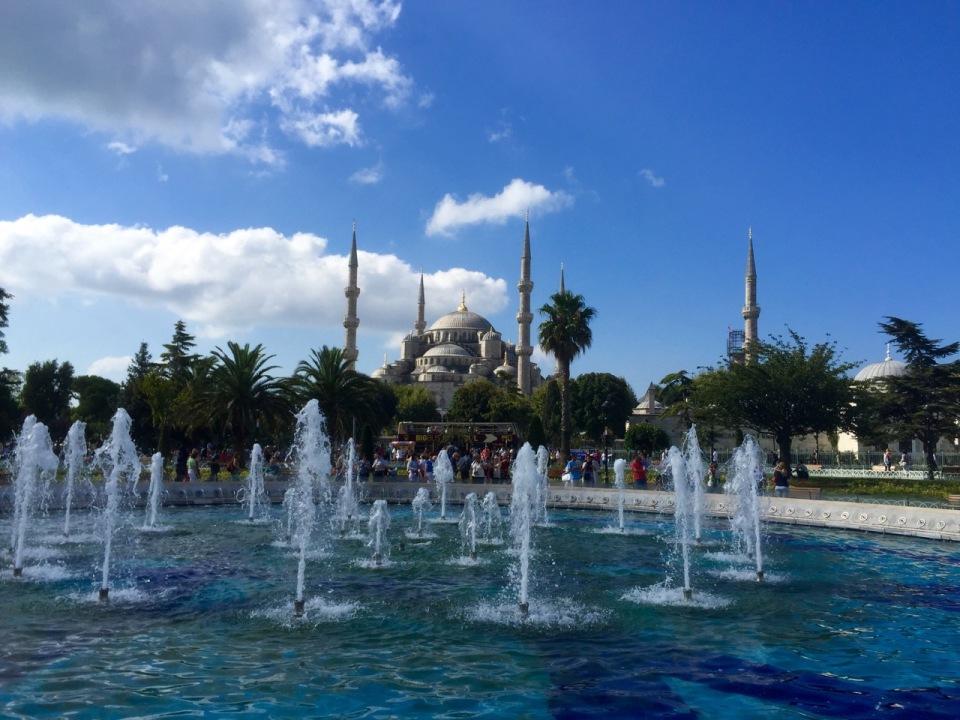 Fountains near Roxelana baths and view to Blue Mosque