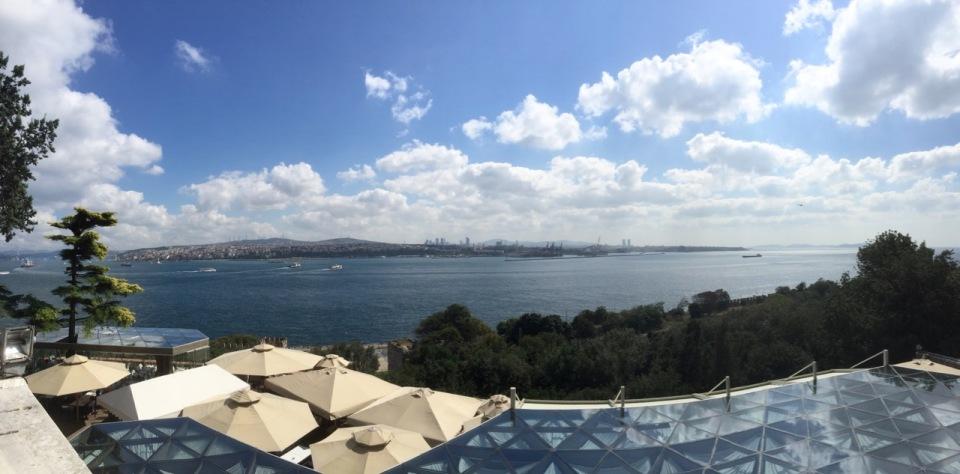 Panorama view from palace across Bosphorus to Asia