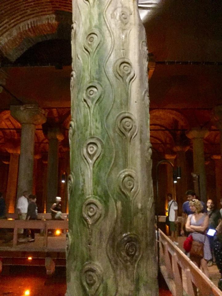 Carved column, cistern