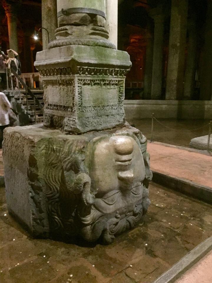 Upside-down medusa head, Basilica Cistern