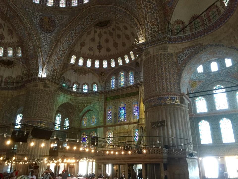 Ornate interior of Sultan Ahmet mosque