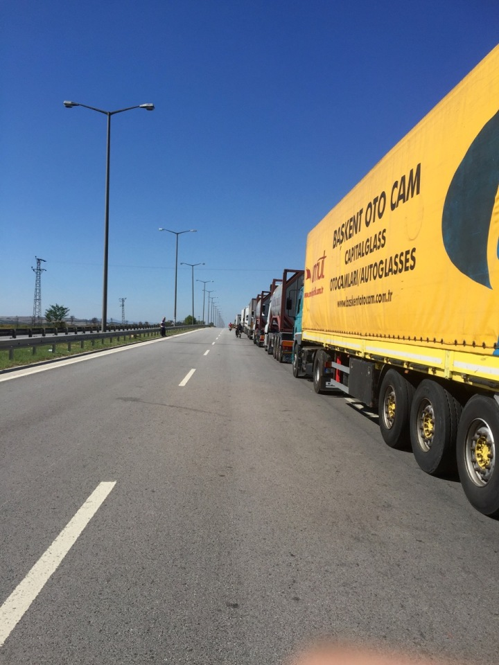 Queues of lorries, several km's long at the border to Bulgaria