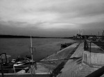 Danube and Lom port in B&W
