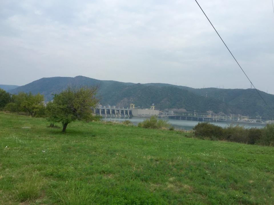 Hydroelectric dam and bridge over the Danube near Kladova