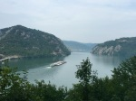 Big barge continues heading down the Danube