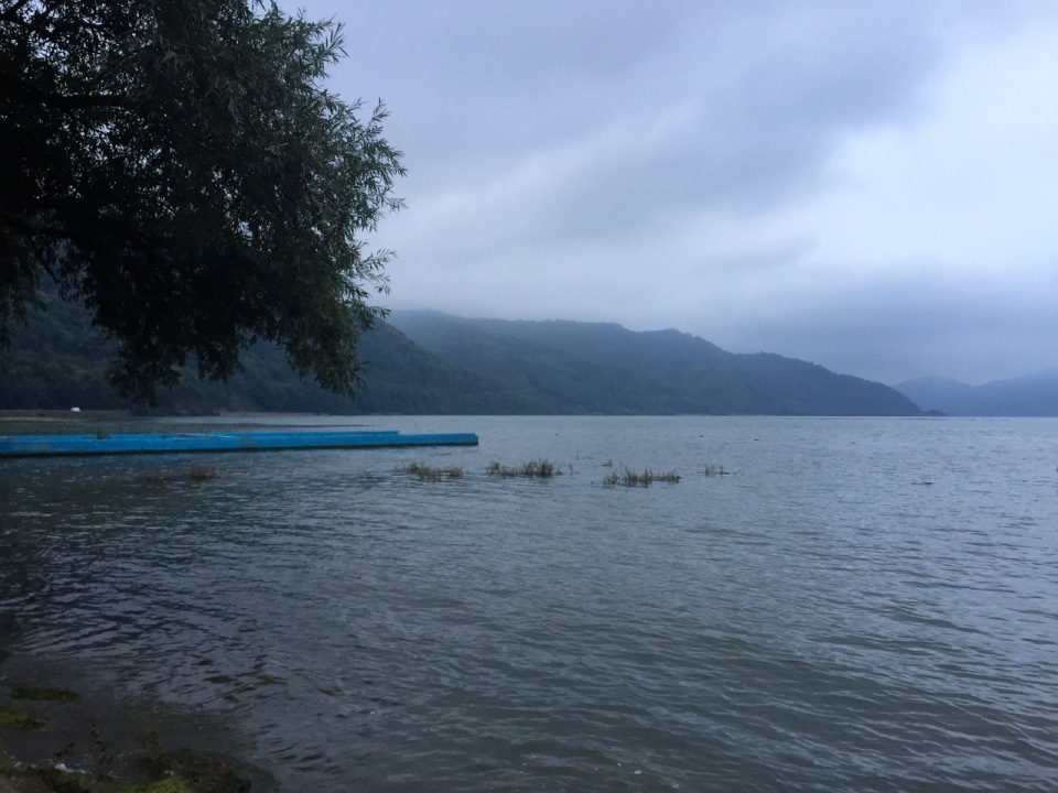 A grey day on the Danube; Toma camping