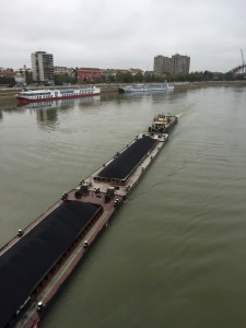 Crossing the Danube in Novi Sad - huge coal barge