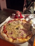 Travelling Lobster and I tucking into pizza