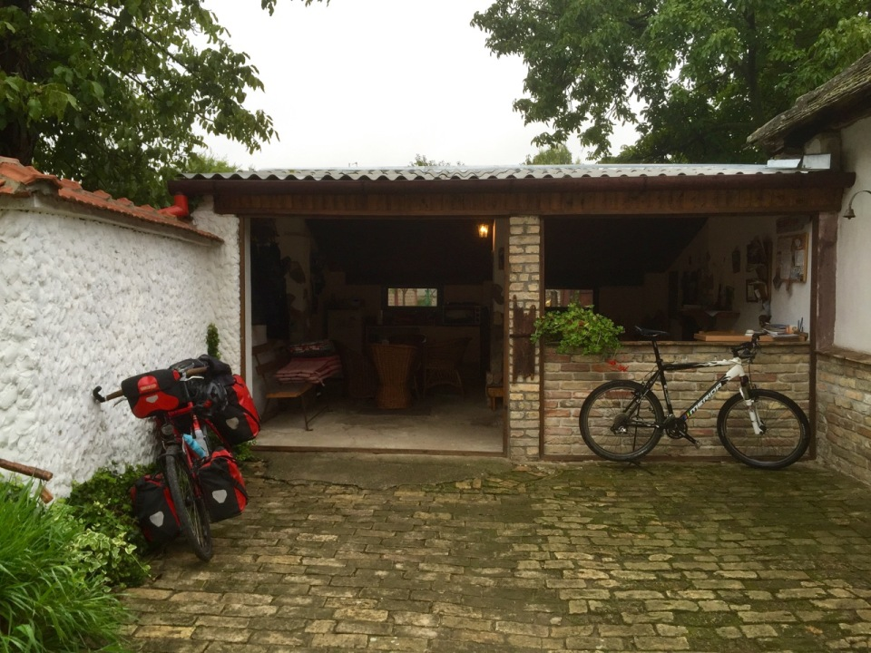 Chill out area and workshop; Long Tour Bike Camp