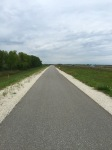 Long stretch on cycle path towards end of the day