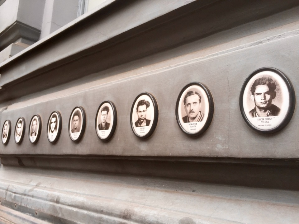 Pictures on the wall of the House of Terror, of victims of the regime