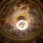 Auditorium ceiling fresco and chandelier