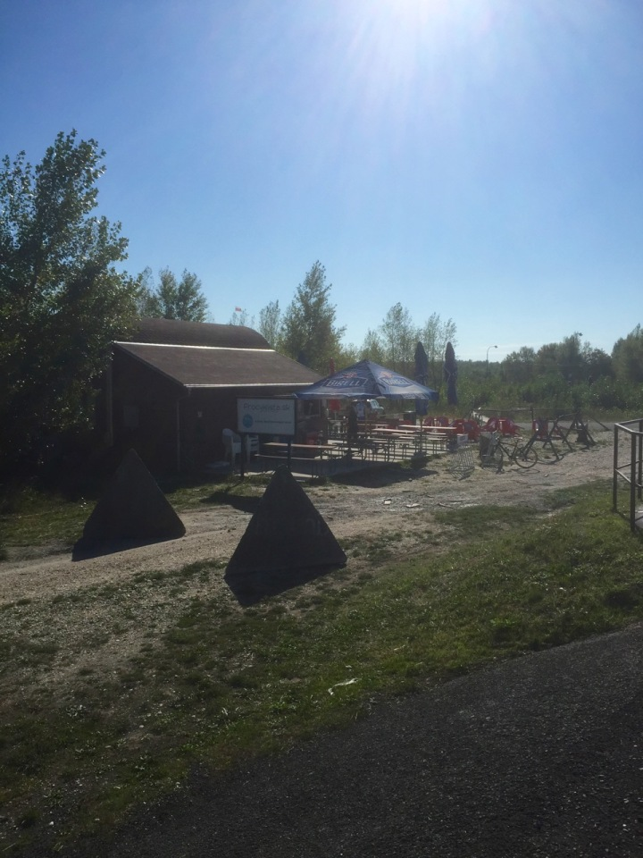 Cycle cafe just across border, Slovakia