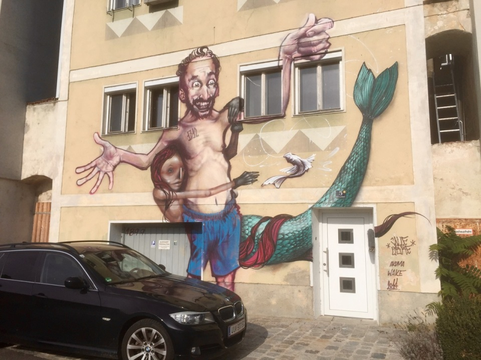 Some interesting wall art on route