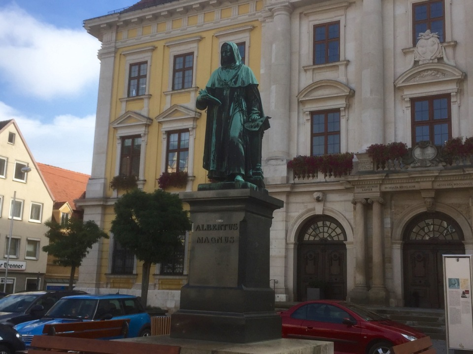 Statue in town hall in Colourful tower in Lauingen