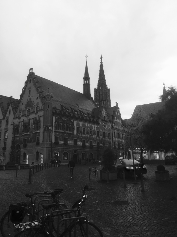 In B&W, Rathaus with Cathedral on background, Ulm