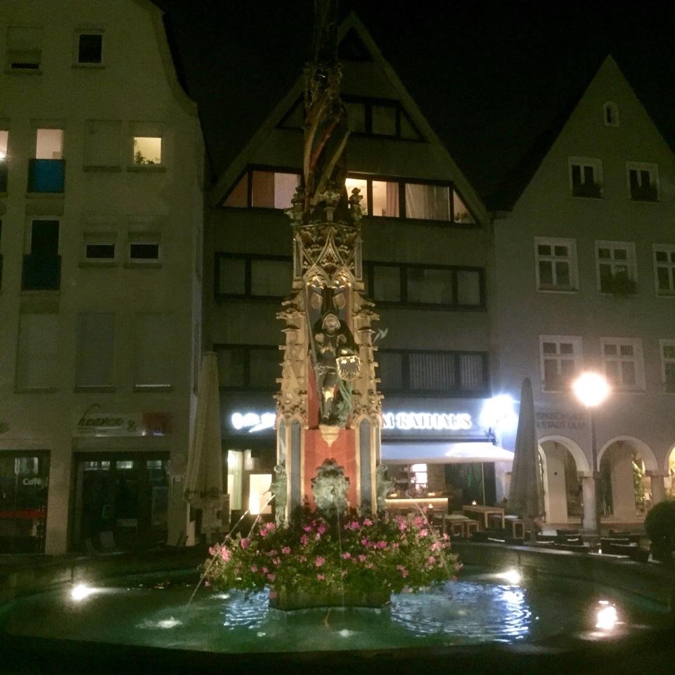 Rathaus fountain at night