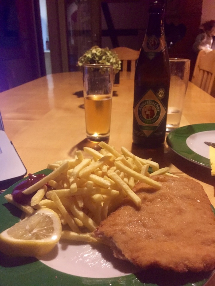 Beer and schnitzel for dinner, perfect