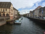 Crossing canal over to the old city of Strasbourg