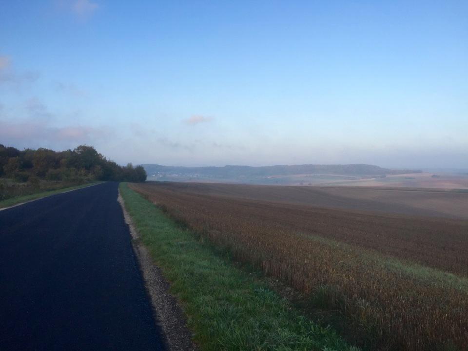 Empty D roads through farmland