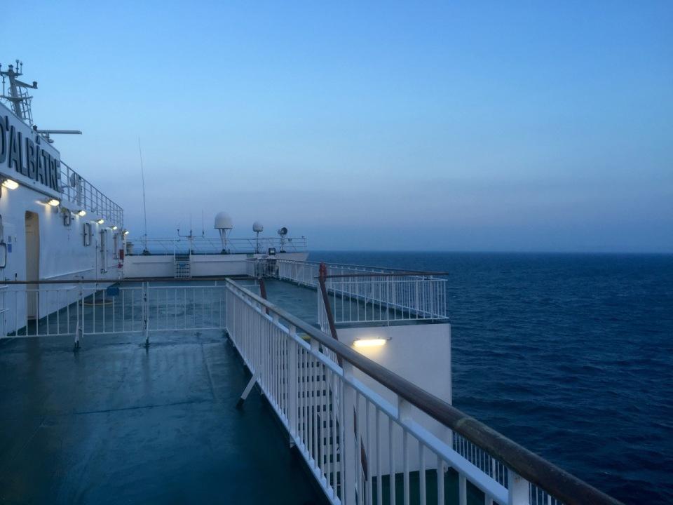A breezy stroll on deck