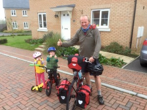 Setting off for Norwich, with Seb and Anna in support