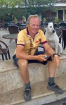 Me and a new friend in Edessa, Greece; he followed me into town