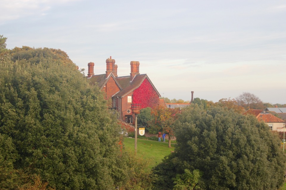 Orford Beacon and dazzling Virginia Creeper