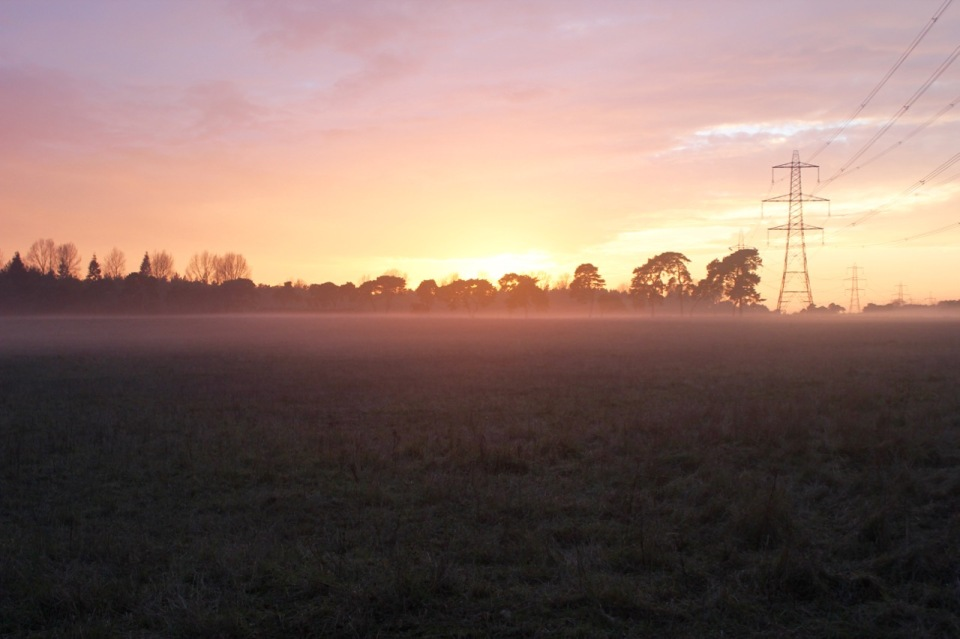 Norfolk sunset 3 - there were dangerous sheep in the mist!