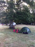 Early morning start in Ashurst, tent still damp