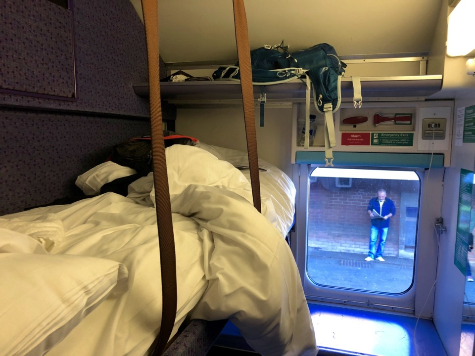 Cosy bunks on the sleeper train to Glasgow