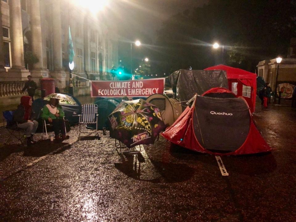 Night falls - tents on Birdcage Walk