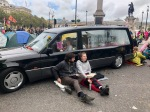 Hearse blocking road in Trafalgar Square
