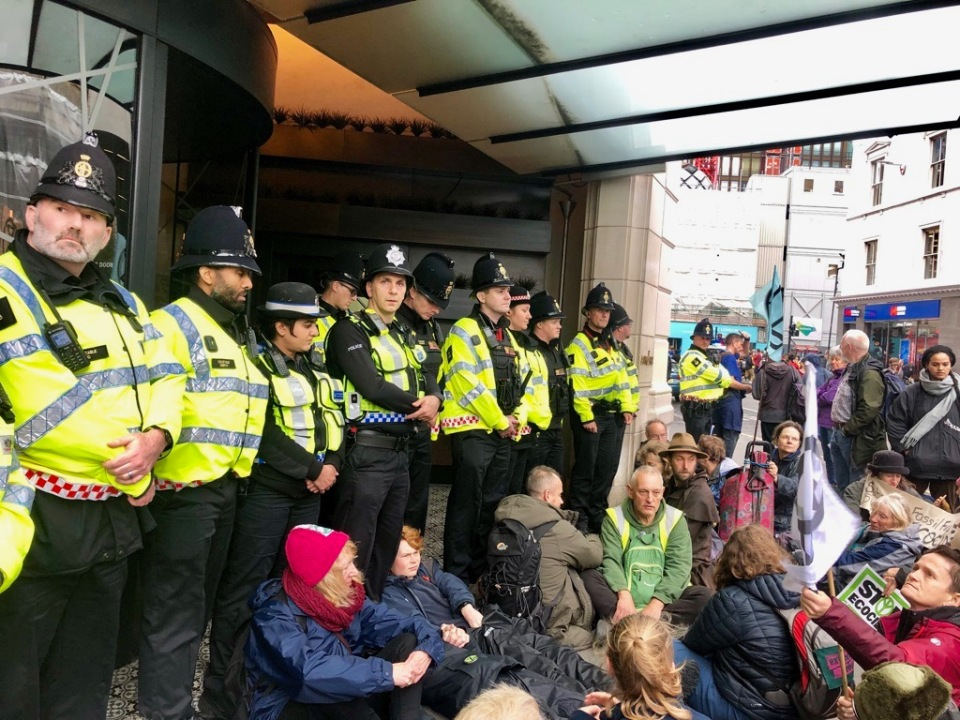 Norwich Rebels block Andaz hotel entrance