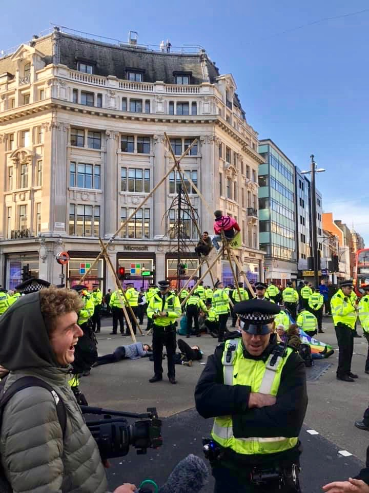 Police arrive to take down tripod