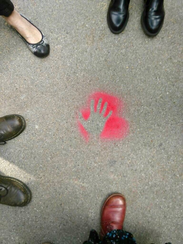 Red Hand prints started to appear round London